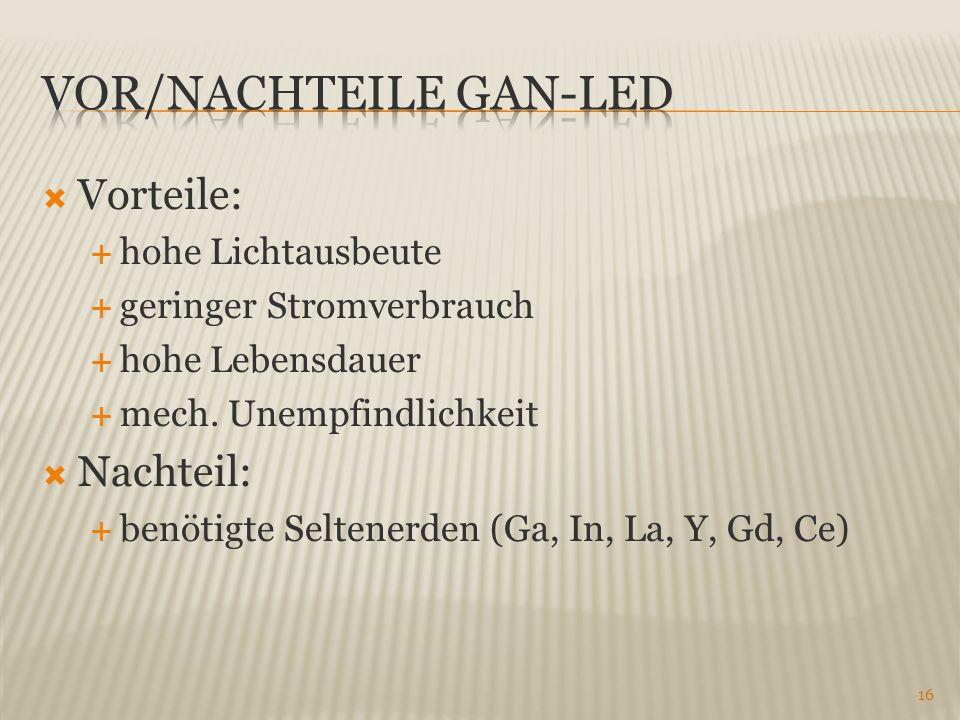 Vorteile: hohe Lichtausbeute geringer Stromverbrauch hohe Lebensdauer mech. Unempfindlichkeit Nachteil: benötigte Seltenerden (Ga, In, La, Y, Gd, Ce)