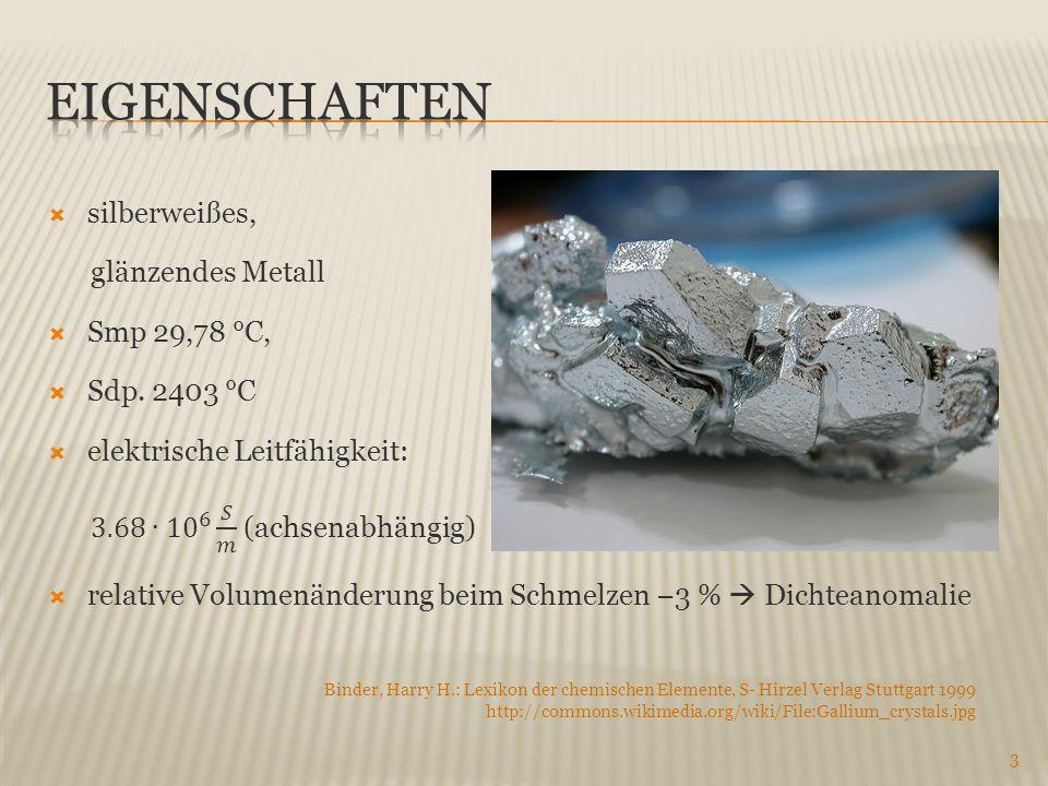 3 Binder, Harry H.: Lexikon der chemischen Elemente, S- Hirzel Verlag Stuttgart 1999 http://commons.wikimedia.org/wiki/File:Gallium_crystals.jpg