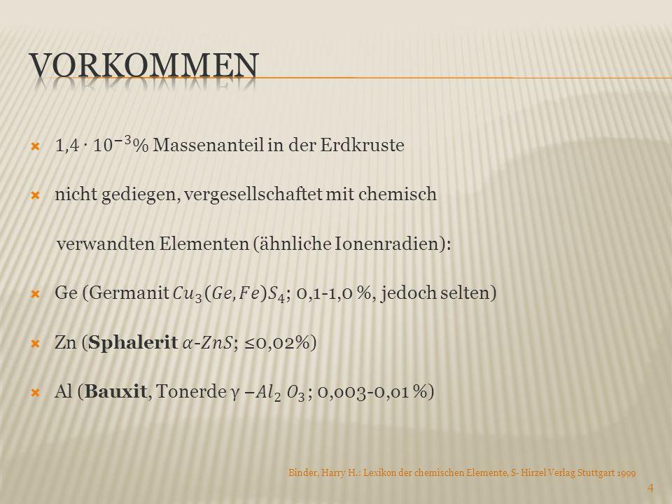 4 Binder, Harry H.: Lexikon der chemischen Elemente, S- Hirzel Verlag Stuttgart 1999