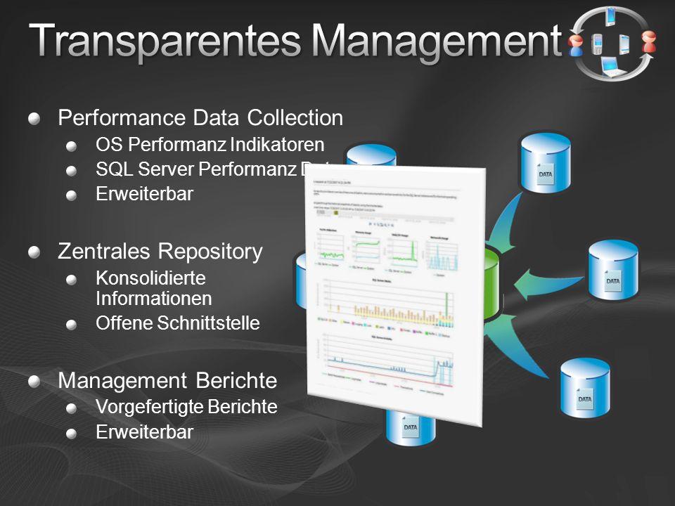 Daten Provider SQL Trace Performance Counters Transact-SQL Datensammlung mit wenig Zusatzkosten Performance Data Repository Zentrale Datenhaltung Aussagekräftige Berichte