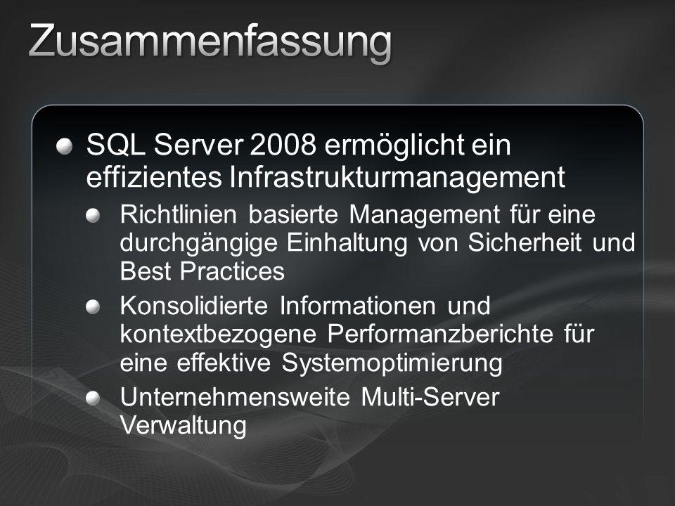 Erfahren Sie mehr zu SQL Server 2008 http://www.microsoft.com/sql/2008/default.mspx http://www.microsoft.com/sql/2008/default.mspx Hintergrundinformationen zu SQL Server 2008: Webcasts, Virtual Labs und White Papers http://www.microsoft.com/sql/2008/learning/default.mspx http://www.microsoft.com/sql/2008/learning/default.mspx SQL Server 2008 Training http://www.microsoft.com/learning/sql/2008/default.mspx http://www.microsoft.com/learning/sql/2008/default.mspx Download des aktuellen SQL Server CTP http://www.microsoft.com/sql/2008/prodinfo/download.m spx http://www.microsoft.com/sql/2008/prodinfo/download.m spx Werden Sie Mitglied der SQL PASS Community http://www.sqlpass.de