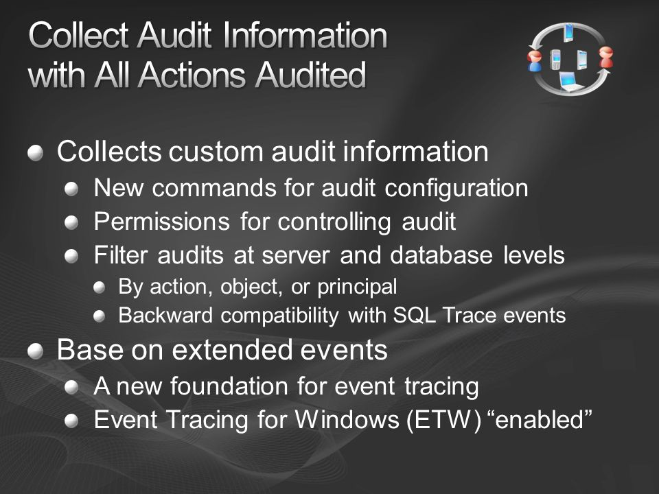 Collects custom audit information New commands for audit configuration Permissions for controlling audit Filter audits at server and database levels B