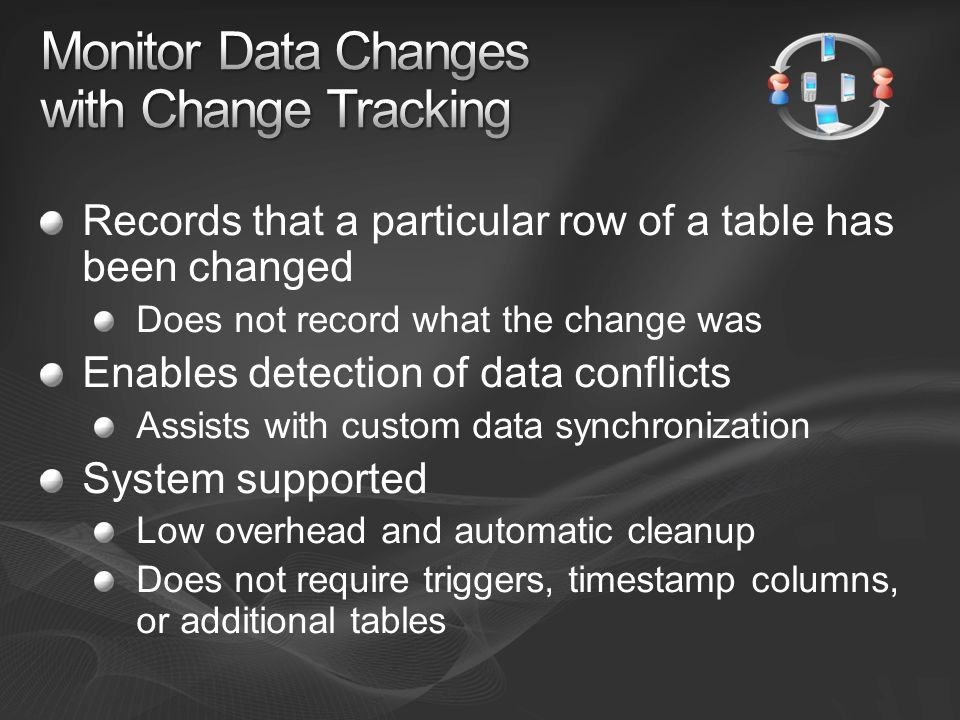 Records that a particular row of a table has been changed Does not record what the change was Enables detection of data conflicts Assists with custom data synchronization System supported Low overhead and automatic cleanup Does not require triggers, timestamp columns, or additional tables