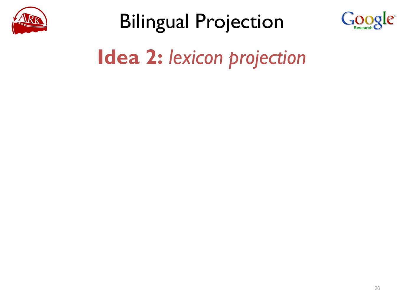 Bilingual Projection Idea 2: lexicon projection 28