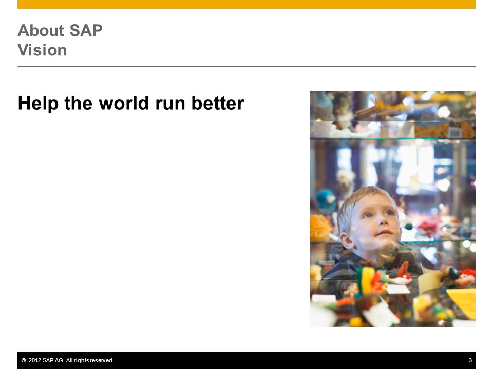©2012 SAP AG. All rights reserved.3 About SAP Vision Help the world run better