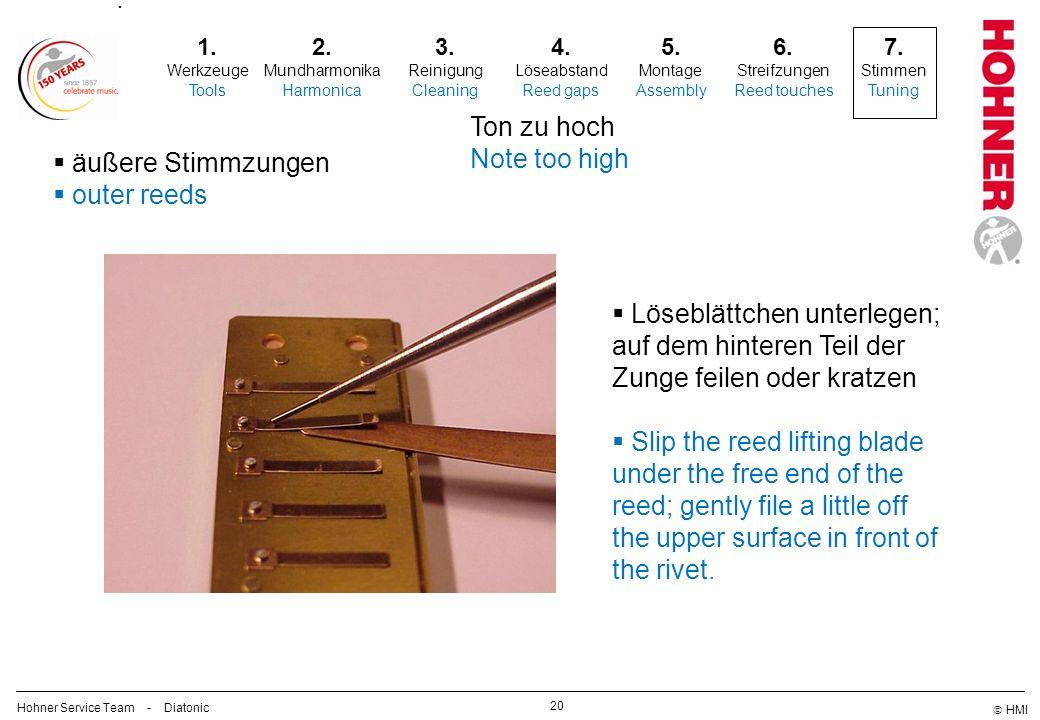 1. Werkzeuge Tools 2. Mundharmonika Harmonica 3. Reinigung Cleaning 4. Löseabstand Reed gaps 5. Montage Assembly 6. Streifzungen Reed touches 7. Stimm