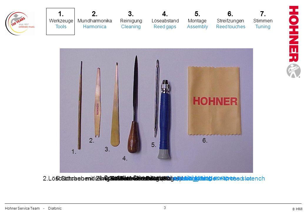 HMI Werkzeuge/ Tools 4 Hohner Service Team - Diatonic 1.Spezieller Stimmkratzer/ special tuning scraper 2.Lösblättchen mit Zungen-Zentrierschlüssel/ reed lifting blade with reed wrench 3.Hakenwerkzeug (Angel)/ hook tool 4.Feine Stimmfeile/ fine tuning file 5.Schraubendreher Schlitz + Kreuzschlitz/ screwdriver slot + cross slot 6.Fusselfreies Putztuch/ cleaning cloth 1.