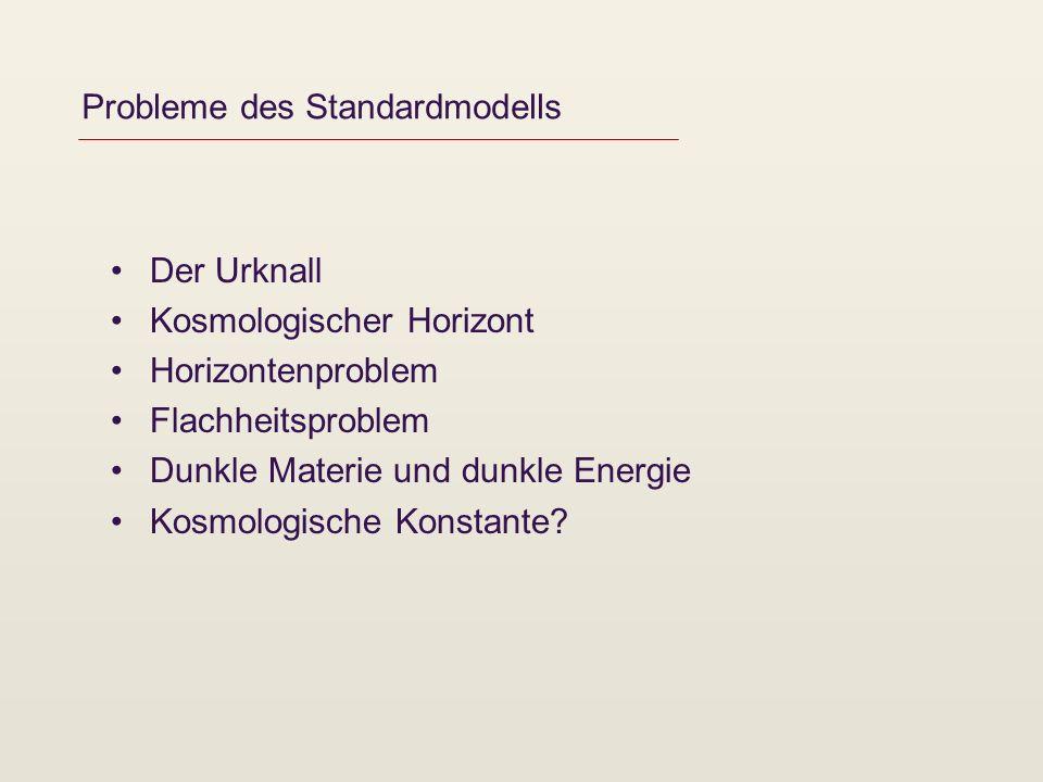 Probleme des Standardmodells Der Urknall Kosmologischer Horizont Horizontenproblem Flachheitsproblem Dunkle Materie und dunkle Energie Kosmologische Konstante?