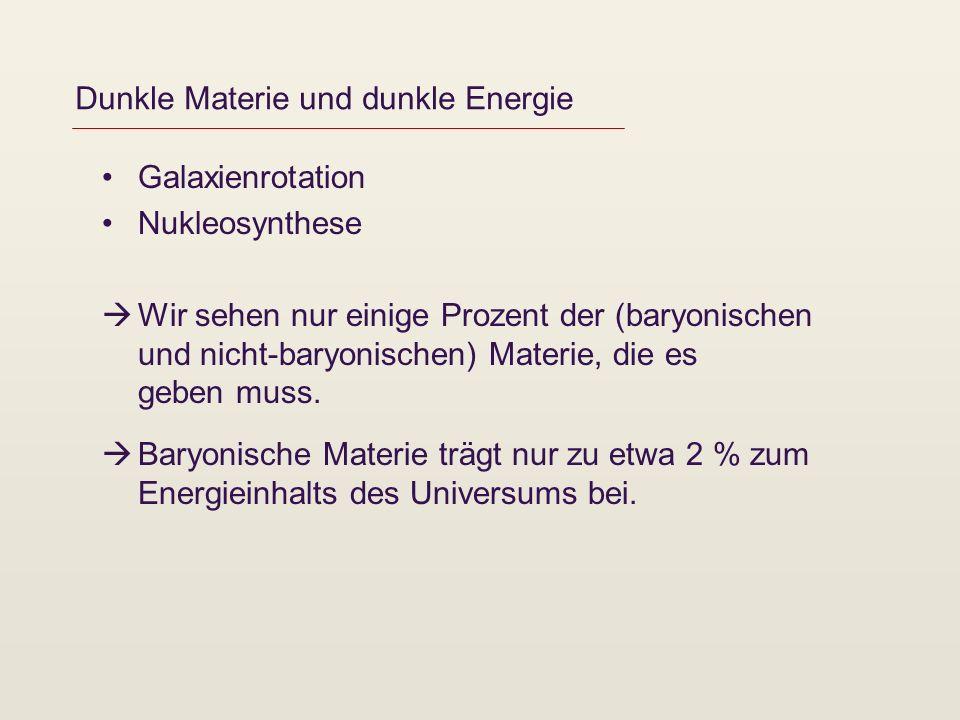 Dunkle Materie und dunkle Energie Galaxienrotation Nukleosynthese Wir sehen nur einige Prozent der (baryonischen und nicht-baryonischen) Materie, die es geben muss.