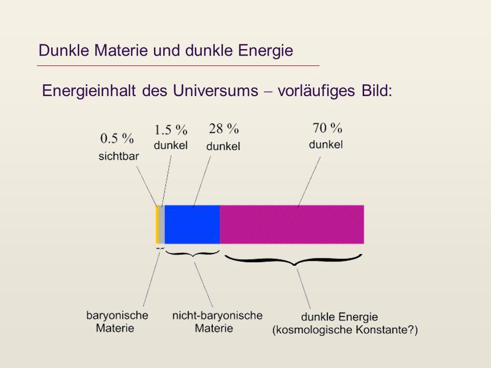 Dunkle Materie und dunkle Energie Energieinhalt des Universums vorläufiges Bild: