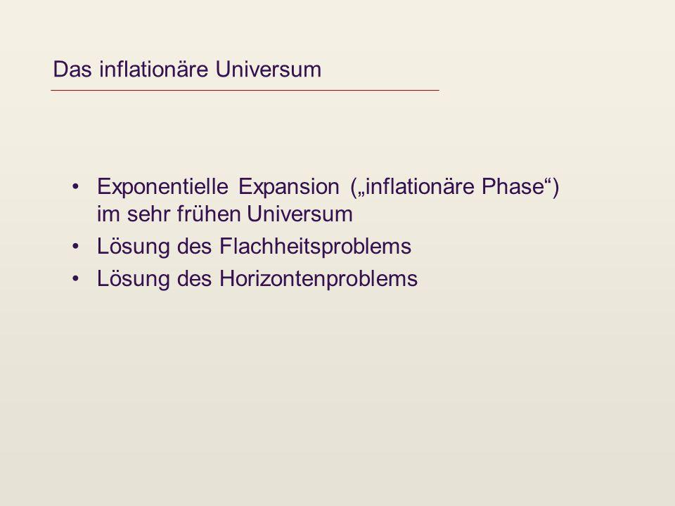 Das inflationäre Universum Exponentielle Expansion (inflationäre Phase) im sehr frühen Universum Lösung des Flachheitsproblems Lösung des Horizontenproblems