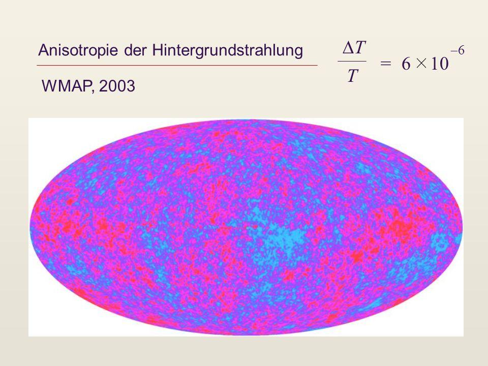 Anisotropie der Hintergrundstrahlung WMAP, 2003 T T = 6 10 6