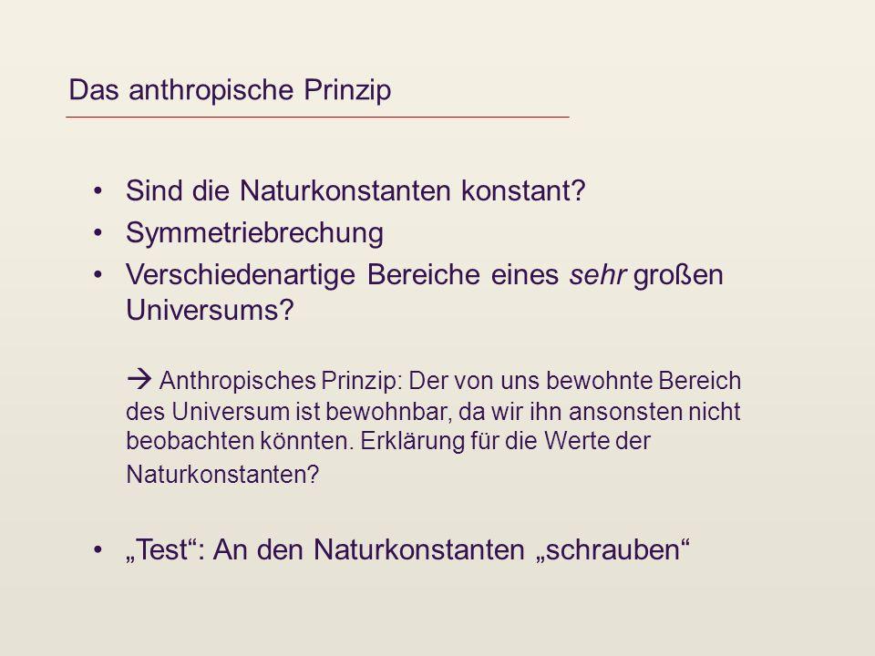 Das anthropische Prinzip Sind die Naturkonstanten konstant.