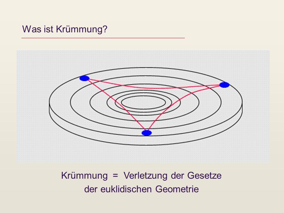 Was ist Krümmung? Krümmung = Verletzung der Gesetze der euklidischen Geometrie
