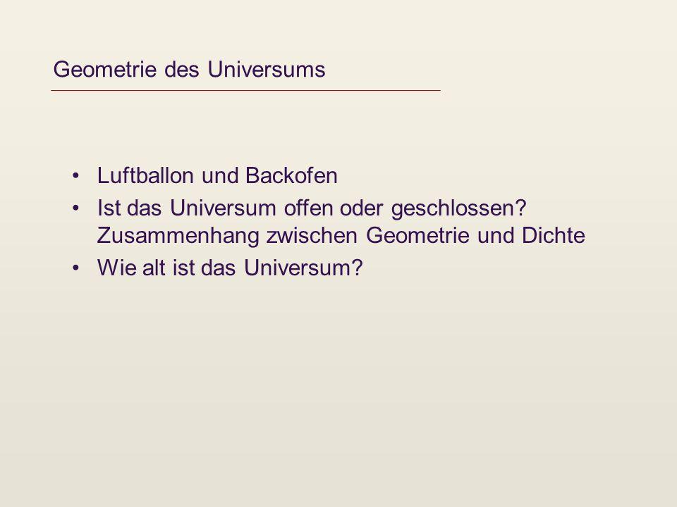 Geometrie des Universums Luftballon und Backofen Ist das Universum offen oder geschlossen.