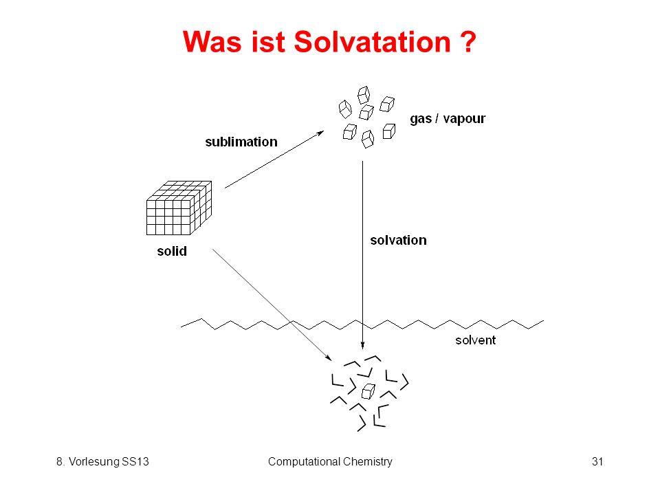 8. Vorlesung SS13Computational Chemistry31 Was ist Solvatation ?