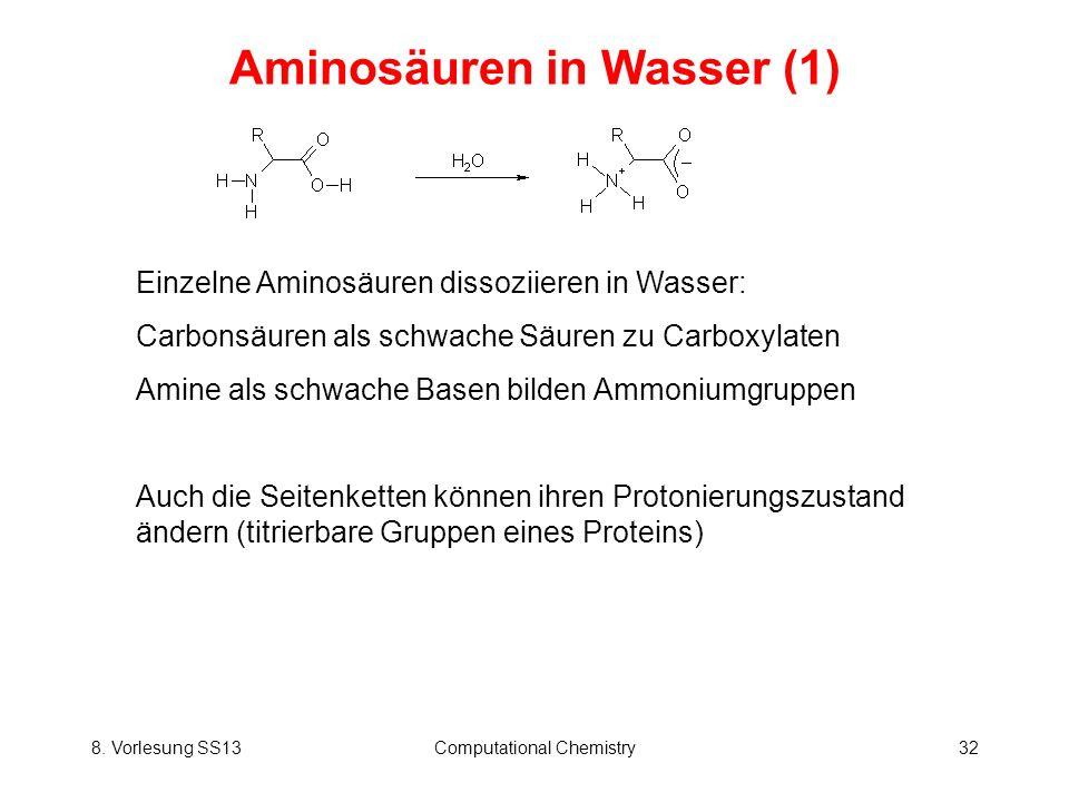 8. Vorlesung SS13Computational Chemistry32 Aminosäuren in Wasser (1) Einzelne Aminosäuren dissoziieren in Wasser: Carbonsäuren als schwache Säuren zu