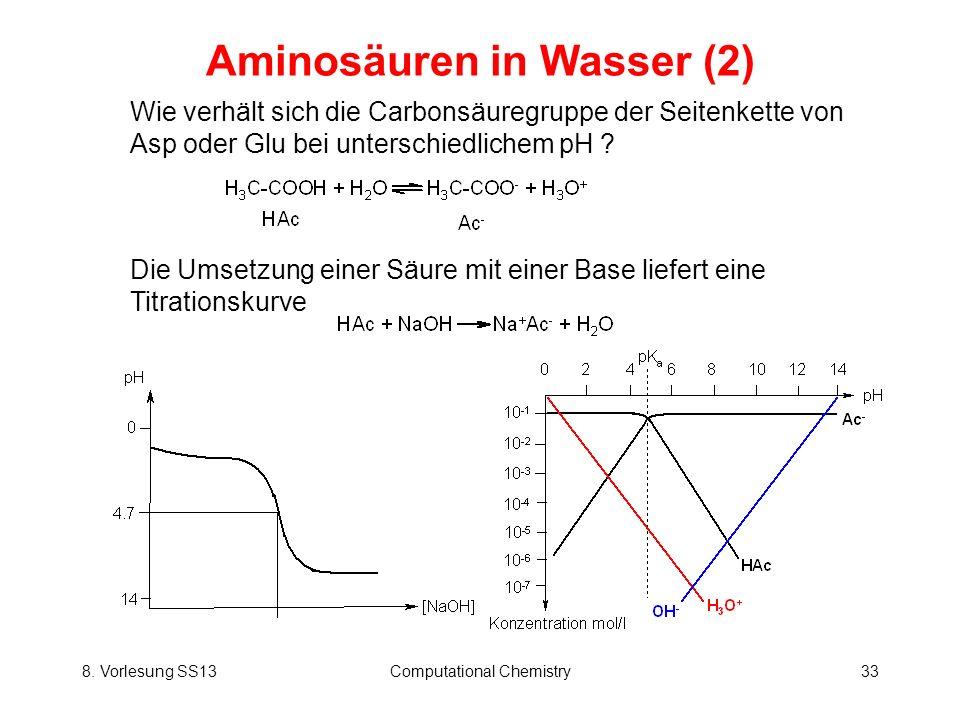 8. Vorlesung SS13Computational Chemistry33 Aminosäuren in Wasser (2) Die Umsetzung einer Säure mit einer Base liefert eine Titrationskurve Wie verhält