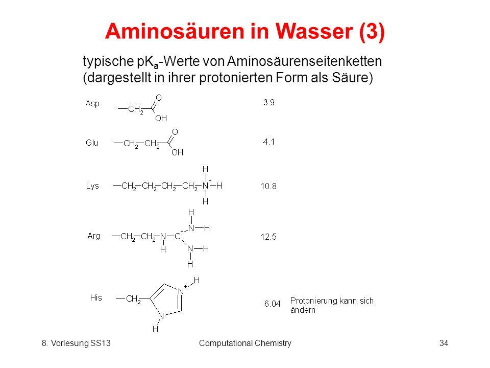 8. Vorlesung SS13Computational Chemistry34 Aminosäuren in Wasser (3) typische pK a -Werte von Aminosäurenseitenketten (dargestellt in ihrer protoniert