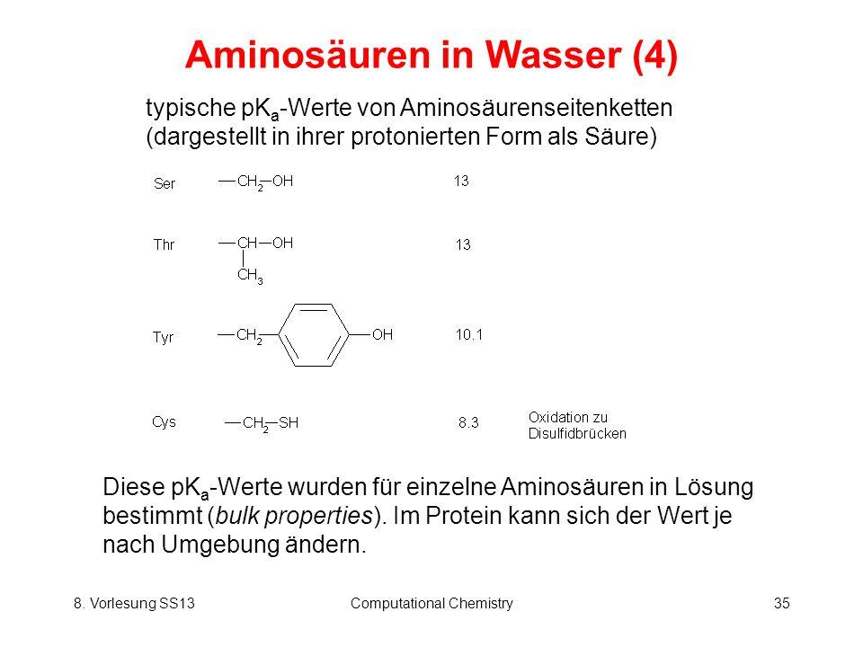 8. Vorlesung SS13Computational Chemistry35 Aminosäuren in Wasser (4) typische pK a -Werte von Aminosäurenseitenketten (dargestellt in ihrer protoniert