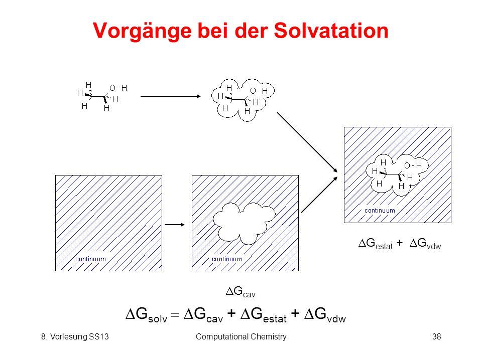 8. Vorlesung SS13Computational Chemistry38 Vorgänge bei der Solvatation G cav G estat + G vdw G solv G cav + G estat + G vdw