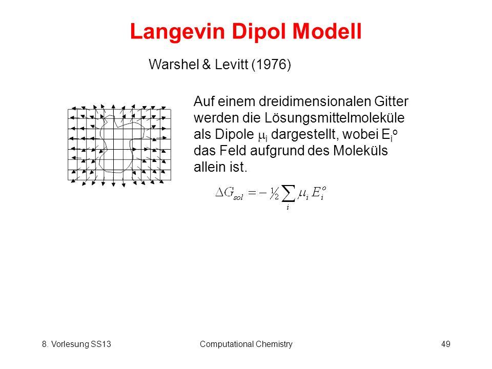 8. Vorlesung SS13Computational Chemistry49 Langevin Dipol Modell Warshel & Levitt (1976) Auf einem dreidimensionalen Gitter werden die Lösungsmittelmo