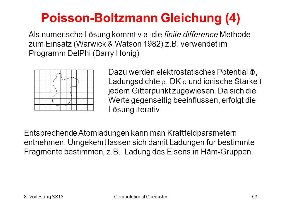 8. Vorlesung SS13Computational Chemistry53 Poisson-Boltzmann Gleichung (4) Als numerische Lösung kommt v.a. die finite difference Methode zum Einsatz