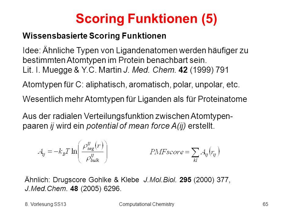 8. Vorlesung SS13Computational Chemistry65 Scoring Funktionen (5) Wissensbasierte Scoring Funktionen Idee: Ähnliche Typen von Ligandenatomen werden hä