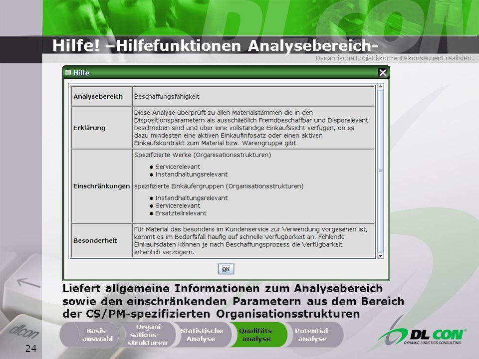 Dynamische Logistikkonzepte konsequent realisiert. 24 Hilfe! –Hilfefunktionen Analysebereich- Organi- sations- strukturen Basis- auswahl Statistische