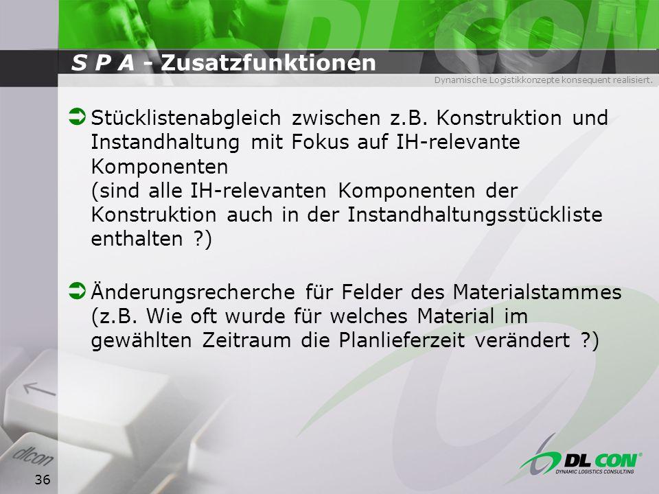 Dynamische Logistikkonzepte konsequent realisiert. 36 S P A - Zusatzfunktionen Stücklistenabgleich zwischen z.B. Konstruktion und Instandhaltung mit F