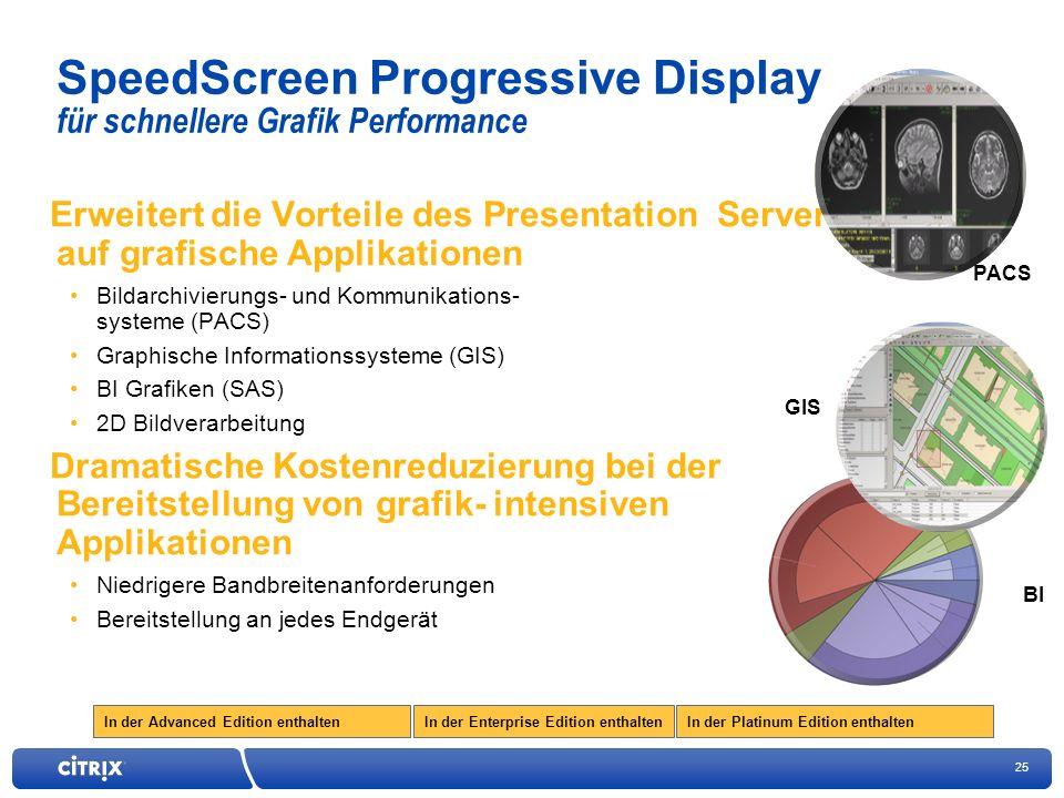 25 In der Enterprise Edition enthaltenIn der Advanced Edition enthaltenIn der Platinum Edition enthalten SpeedScreen Progressive Display für schnellere Grafik Performance Erweitert die Vorteile des Presentation Server auf grafische Applikationen Bildarchivierungs- und Kommunikations- systeme (PACS) Graphische Informationssysteme (GIS) BI Grafiken (SAS) 2D Bildverarbeitung Dramatische Kostenreduzierung bei der Bereitstellung von grafik- intensiven Applikationen Niedrigere Bandbreitenanforderungen Bereitstellung an jedes Endgerät GIS PACS BI