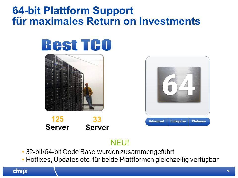 35 64-bit Plattform Support für maximales Return on Investments 125 Server 33 Server Enterprise Platinum Advanced NEU.