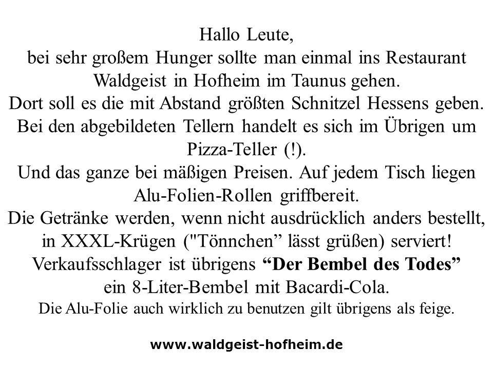 Hallo Leute, bei sehr großem Hunger sollte man einmal ins Restaurant Waldgeist in Hofheim im Taunus gehen. Dort soll es die mit Abstand größten Schnit