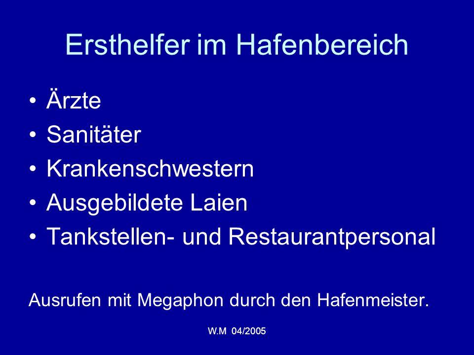 W.M 04/2005 Ersthelfer im Hafenbereich Ärzte Sanitäter Krankenschwestern Ausgebildete Laien Tankstellen- und Restaurantpersonal Ausrufen mit Megaphon durch den Hafenmeister.