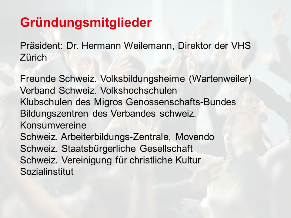Gründungsmitglieder Präsident: Dr.Hermann Weilemann, Direktor der VHS Zürich Freunde Schweiz.