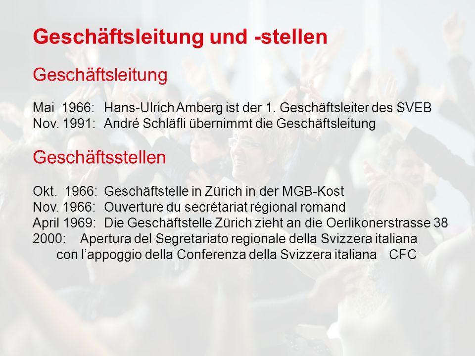 Geschäftsleitung und -stellen Geschäftsleitung Mai 1966: Hans-Ulrich Amberg ist der 1.