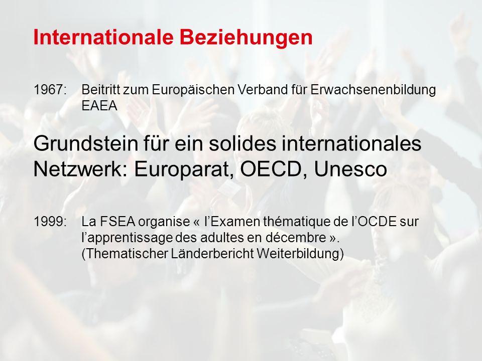 Internationale Beziehungen 1967: Beitritt zum Europäischen Verband für Erwachsenenbildung EAEA Grundstein für ein solides internationales Netzwerk: Europarat, OECD, Unesco 1999: La FSEA organise « lExamen thématique de lOCDE sur lapprentissage des adultes en décembre ».