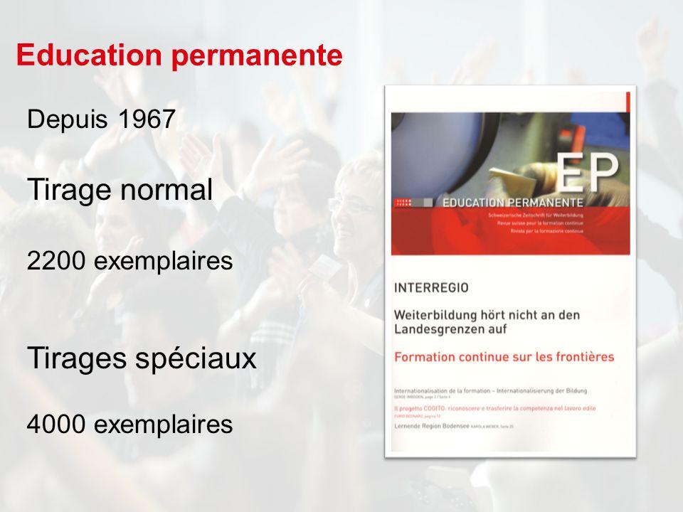 Depuis 1967 Tirage normal 2200 exemplaires Tirages spéciaux 4000 exemplaires Education permanente