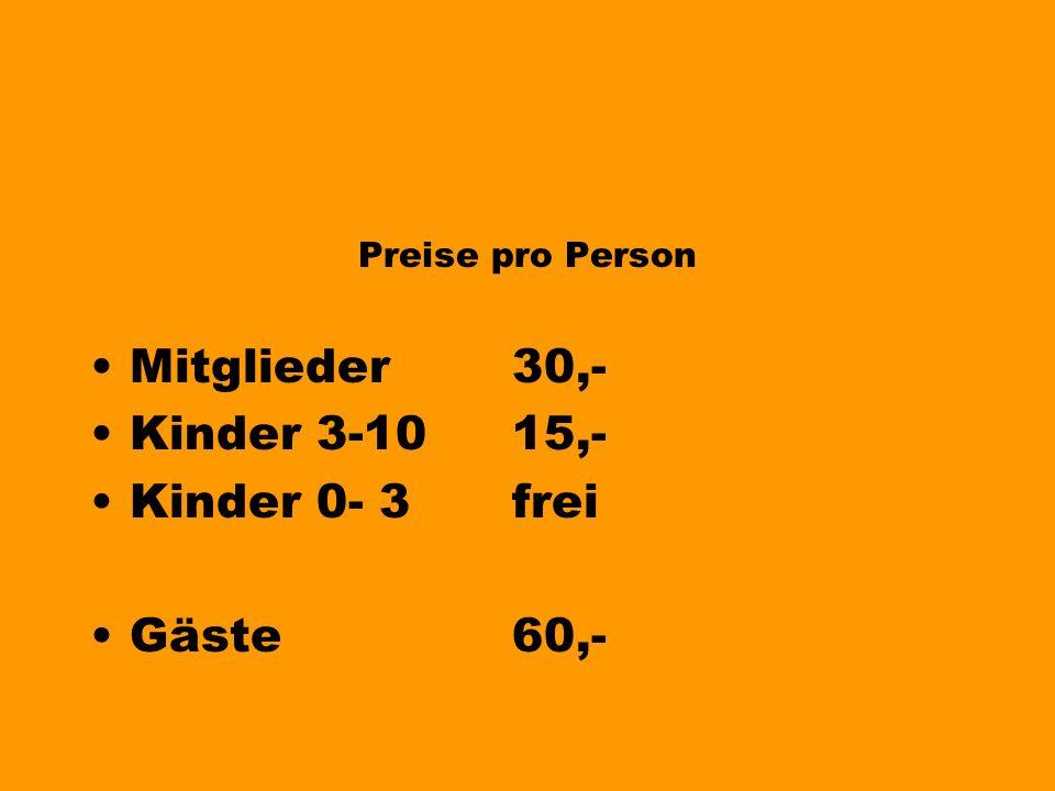 Jetzt buchen Preise pro Person für Mitglieder des Tanzclubs (=Kursbesuch in den Saisonen: Herbst 2004 oder Frühjahr 2005) Kinder Gäste