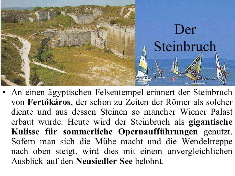 Der Steinbruch An einen ägyptischen Felsentempel erinnert der Steinbruch von Fertőkáros, der schon zu Zeiten der Römer als solcher diente und aus dessen Steinen so mancher Wiener Palast erbaut wurde.