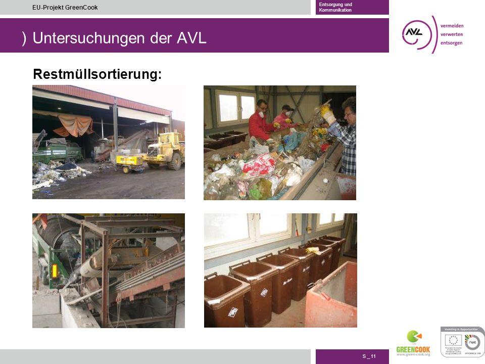 ) S _ 11 EU-Projekt GreenCook Entsorgung und Kommunikation Untersuchungen der AVL Restmüllsortierung: