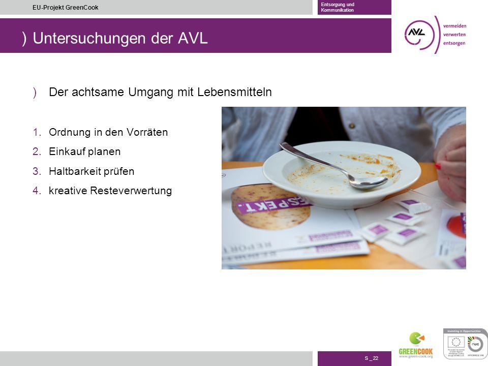 ) S _ 22 EU-Projekt GreenCook Entsorgung und Kommunikation Untersuchungen der AVL )Der achtsame Umgang mit Lebensmitteln 1.Ordnung in den Vorräten 2.E