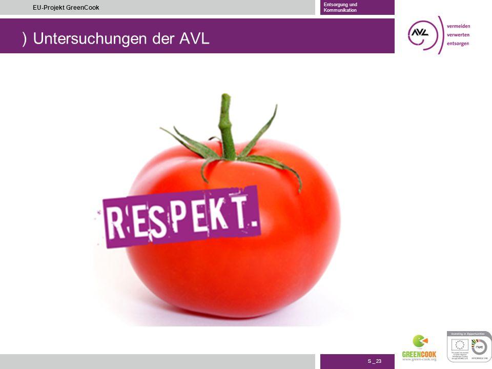 ) S _ 23 EU-Projekt GreenCook Entsorgung und Kommunikation Untersuchungen der AVL