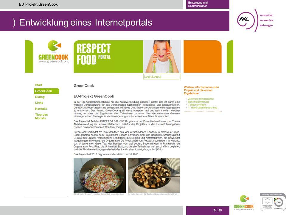 ) S _ 25 EU-Projekt GreenCook Entsorgung und Kommunikation Entwicklung eines Internetportals