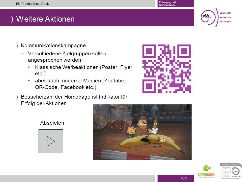 ) S _ 34 EU-Projekt GreenCook Entsorgung und Kommunikation Weitere Aktionen )Kommunikationskampagne –Verschiedene Zielgruppen sollen angesprochen werd
