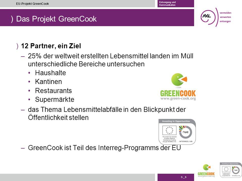 ) S _ 5 EU-Projekt GreenCook Entsorgung und Kommunikation Das Projekt GreenCook )12 Partner, ein Ziel –25% der weltweit erstellten Lebensmittel landen
