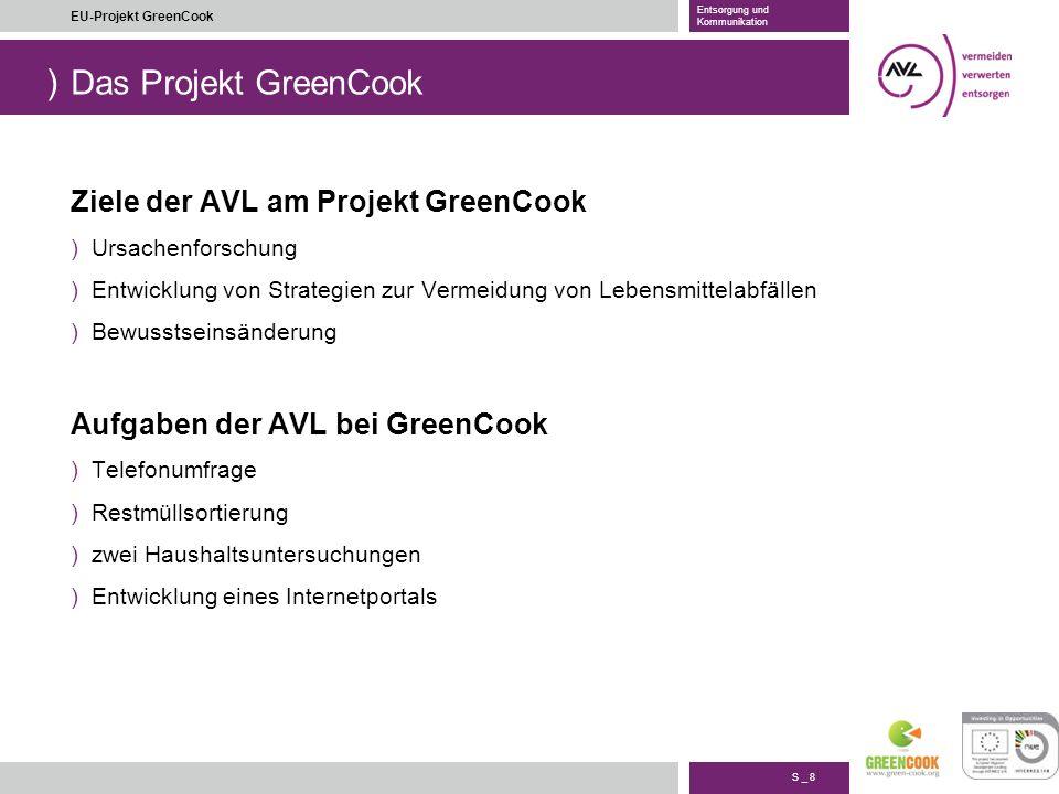 ) S _ 8 EU-Projekt GreenCook Entsorgung und Kommunikation Das Projekt GreenCook Ziele der AVL am Projekt GreenCook )Ursachenforschung )Entwicklung von