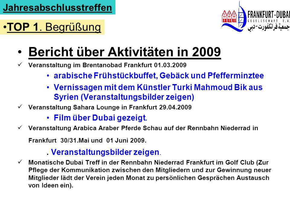 Bericht über Aktivitäten in 2009 Veranstaltung im Brentanobad Frankfurt 01.03.2009 arabische Frühstückbuffet, Gebäck und Pfefferminztee Vernissagen mi