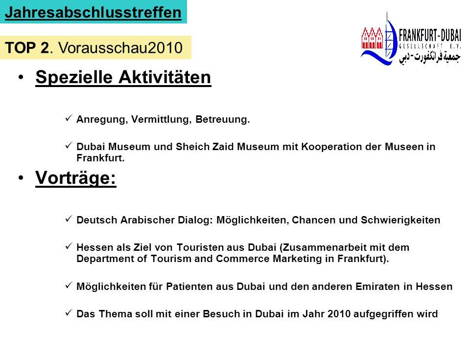 Spezielle Aktivitäten Anregung, Vermittlung, Betreuung. Dubai Museum und Sheich Zaid Museum mit Kooperation der Museen in Frankfurt. Vorträge: Deutsch