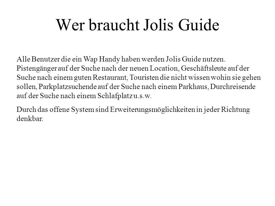 Wer braucht Jolis Guide Alle Benutzer die ein Wap Handy haben werden Jolis Guide nutzen. Pistengänger auf der Suche nach der neuen Location, Geschäfts